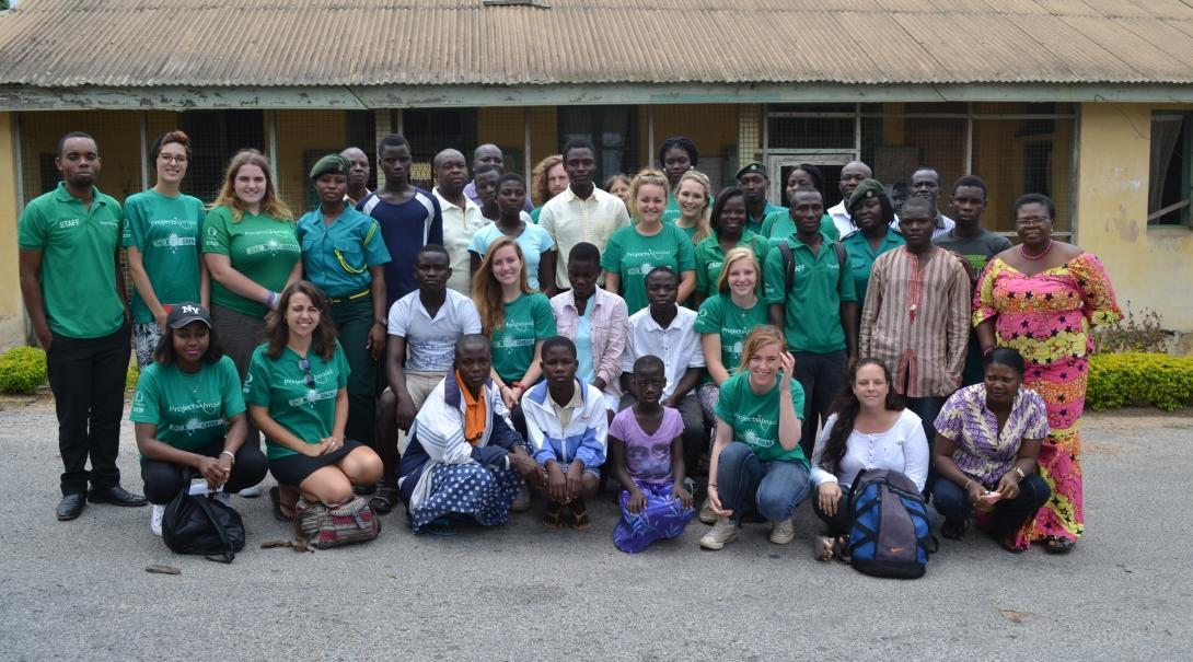 A group photo of interns and local officials on our Human Rights internship for teenagers in Ghana